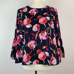 W5 Arc Floral Blouse Navy w/ Floral Pink Orange M